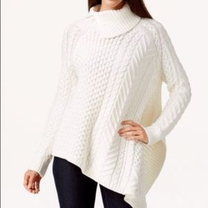 Vince Camuto Asymmetrical Cableknit Ivory Sweater